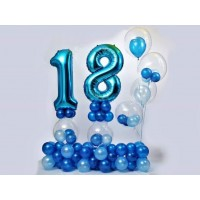 18th  Blue colour Birthday  Balloons Bouquet